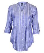 Striped Chambray Long Sleeve Top Shirttail Hem, Blue, original image number 0