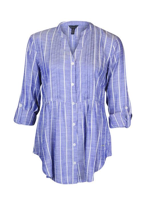 Striped Chambray Long Sleeve Top Shirttail Hem, Blue, original