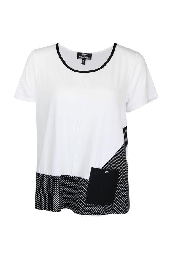 Stripe Colour Block T-Shirt, White, original image number 0
