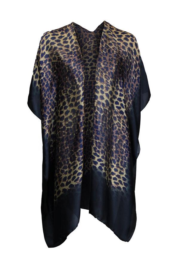 Leopard Print Kimono, Black, original image number 0
