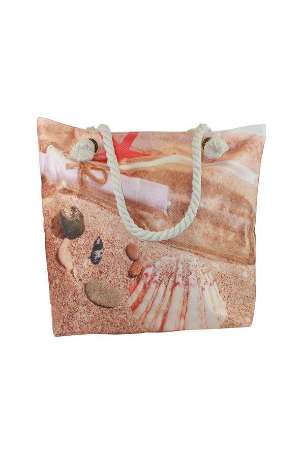 Rope Handle Woven Beach Bag, Natural, original image number 0