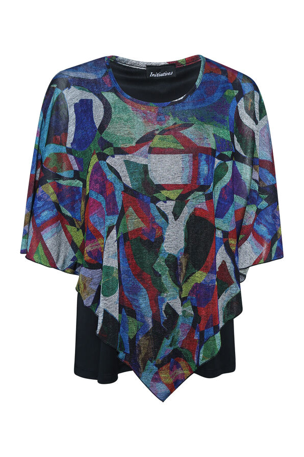 Geometric Print Poncho, Red, original image number 0