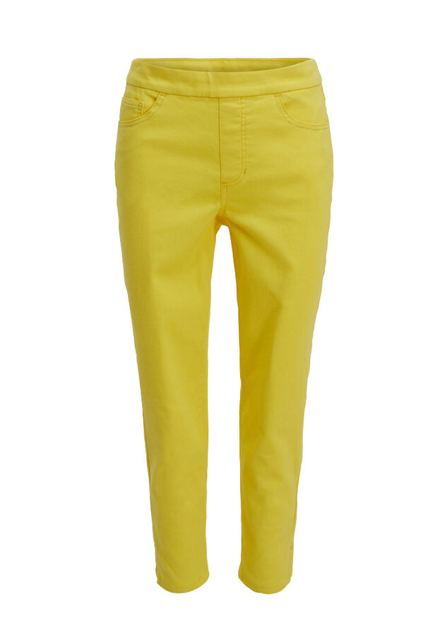 Tribal Super Stretch Pull-On Coloured Ankle Pant, Yellow, original image number 0