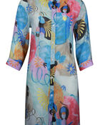Long Button Front Blouse with 3/4 Sleeve, Blue, original image number 0
