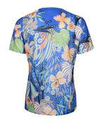 Hummingbird Print Short Sleeve Top with Hotfix Gems, Blue, original image number 1