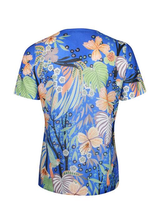 Hummingbird Print Short Sleeve Top with Hotfix Gems, Blue, original