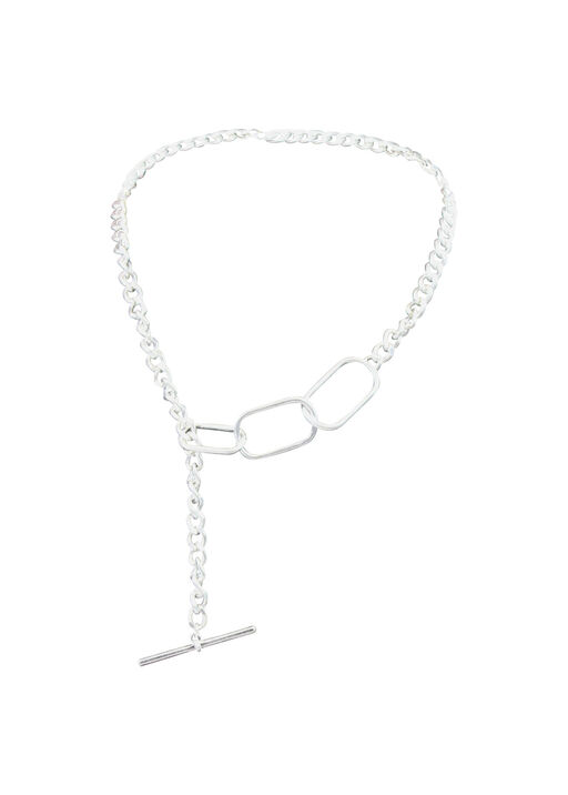 Chain Link Necklace with Toggle Closure, Silver, original