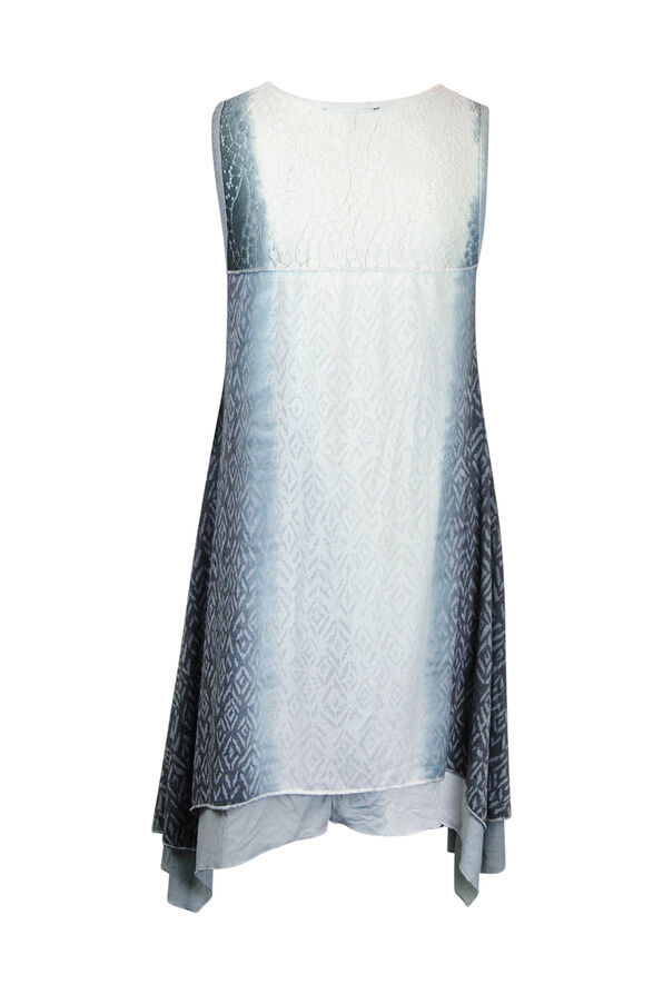 Ombre Lace Tunic With Applique, Grey, original image number 1