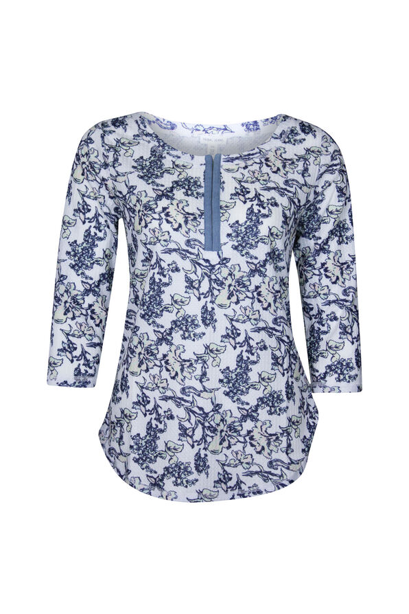 Henley Flower Print Top, Multi, original image number 0