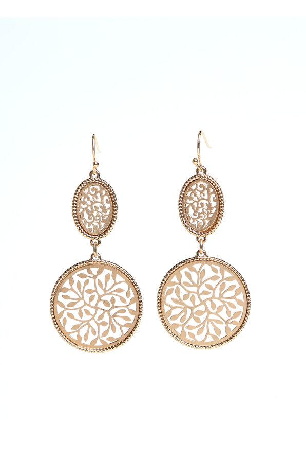 Double Drop Earrings, Gold, original image number 0