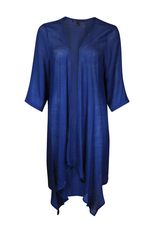 3/4 Sleeve Kimono Style Cardigan, Navy, original image number 0