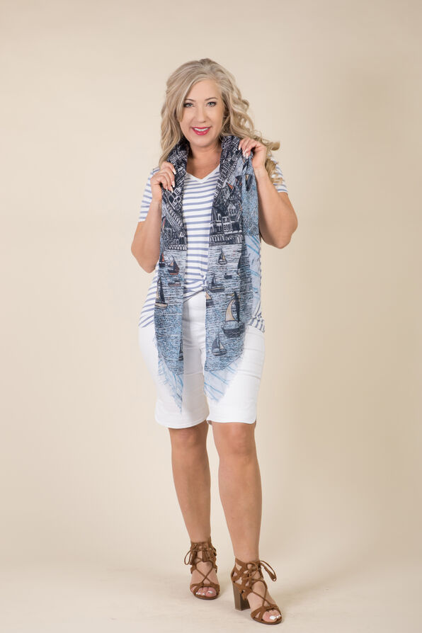 Knotted Striped Tee, Blue, original image number 3