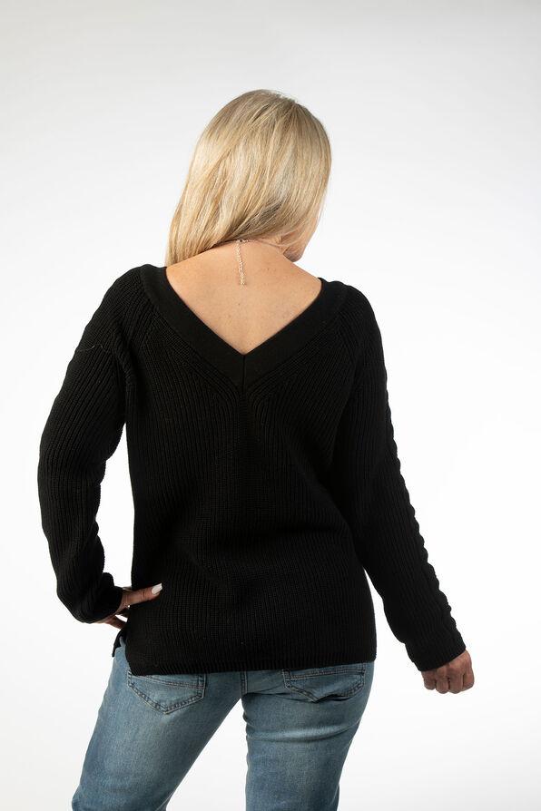 Wear It 2 Ways CableKnit Sweater, Black, original image number 2