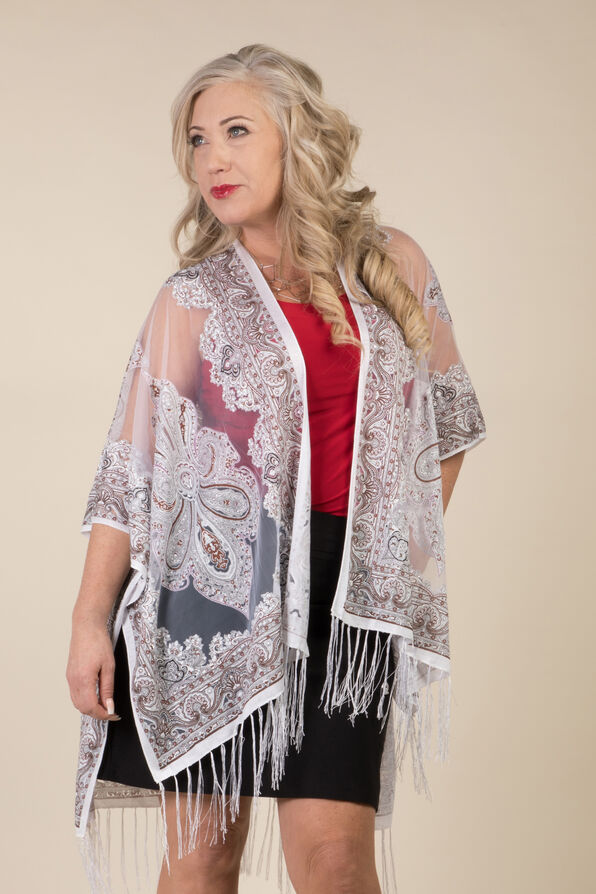 Perfect in Paisley Kimono, White, original image number 1