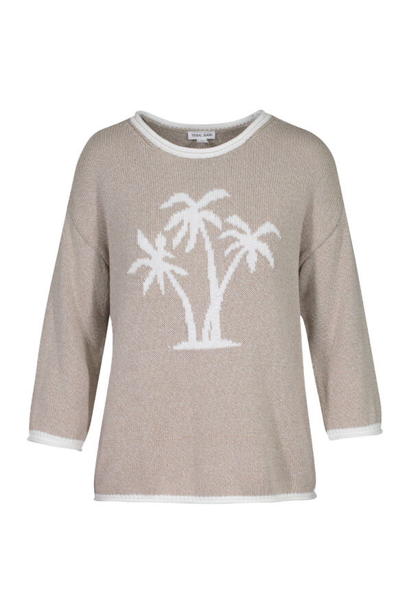 Palm Tree Knit Sweater with Roll Neck, Taupe, original image number 3