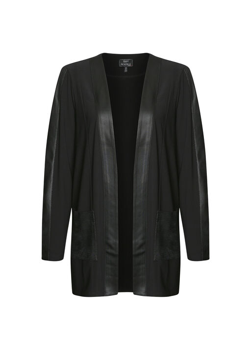 Faux Leather Trimmed Cardigan, Black, original