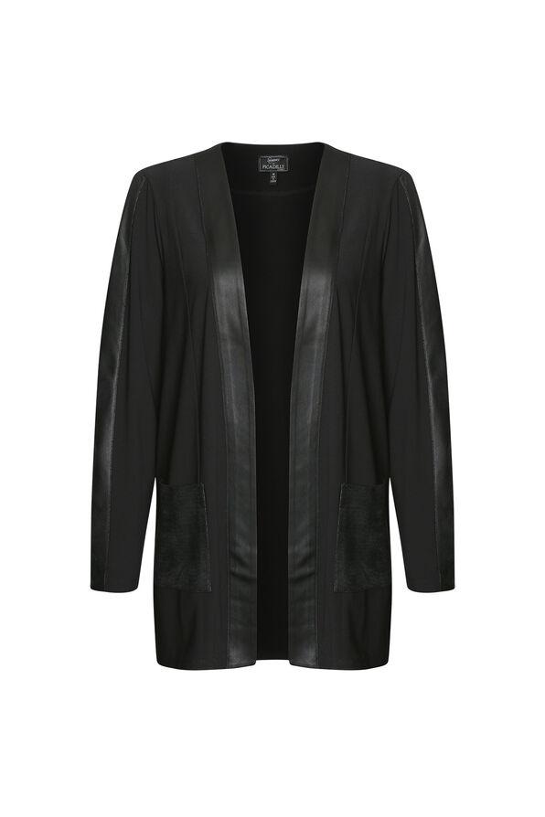 Faux Leather Trimmed Cardigan, Black, original image number 0