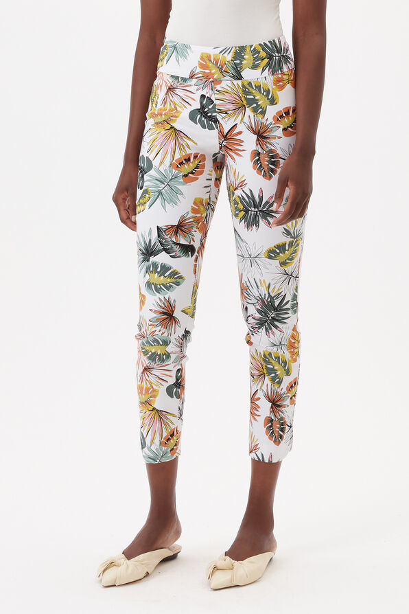 UP! Tummy Control Printed Ankle Pant, White, original image number 0