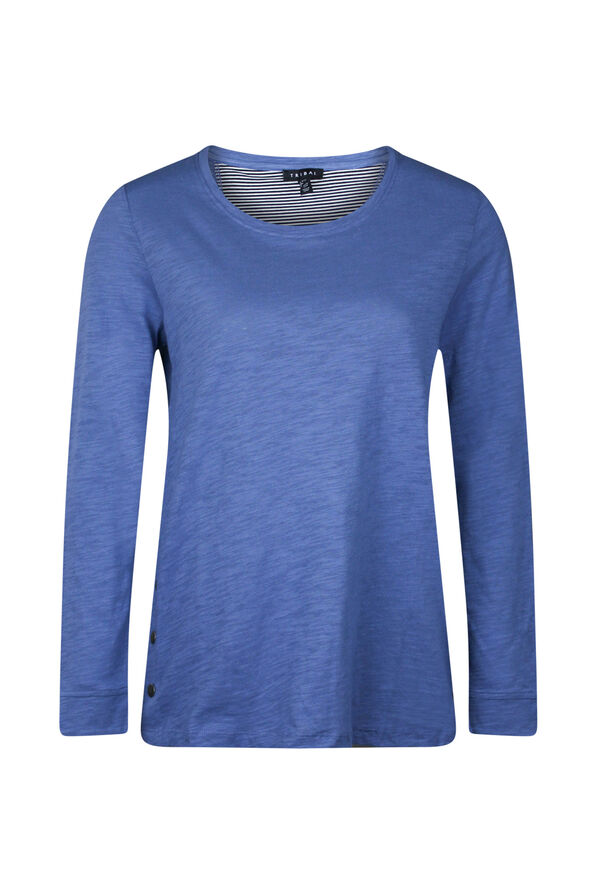 Cotton Crew Neck with Side Snaps, , original image number 1