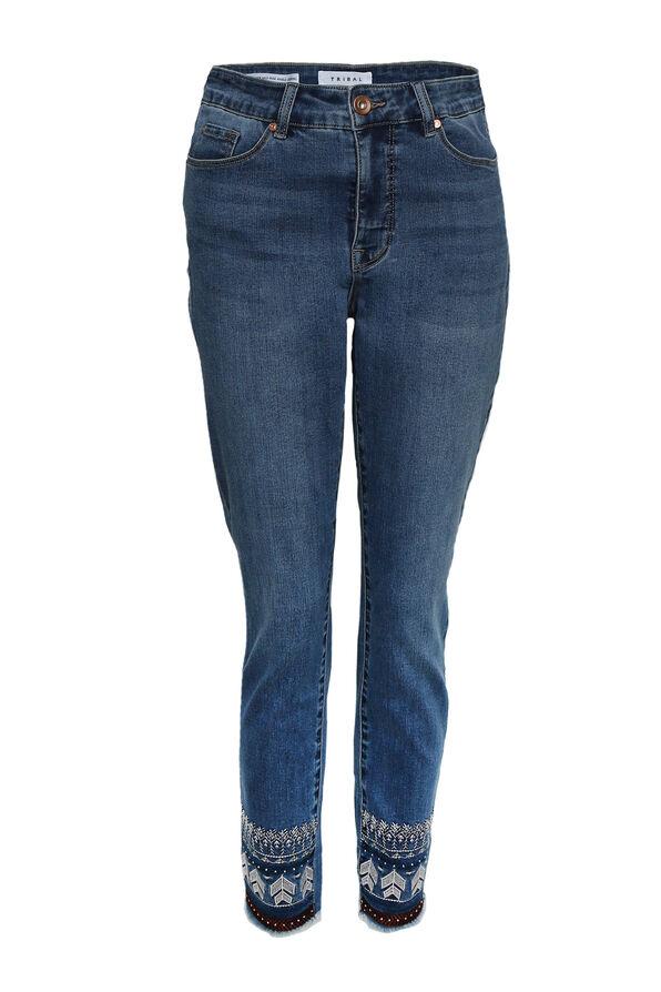 Chevron Hem Ankle Jean, Denim, original image number 0