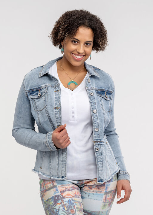 Fitted Denim Jacket with Cut Off Hem, Denim, original