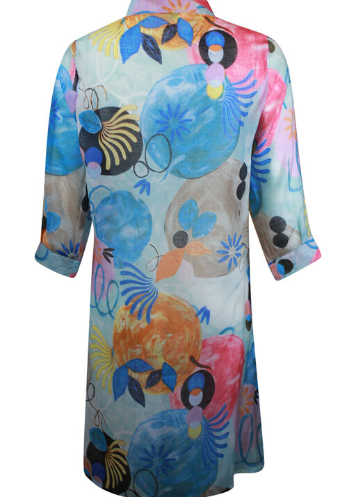 Long Button Front Blouse with 3/4 Sleeve, Blue, original