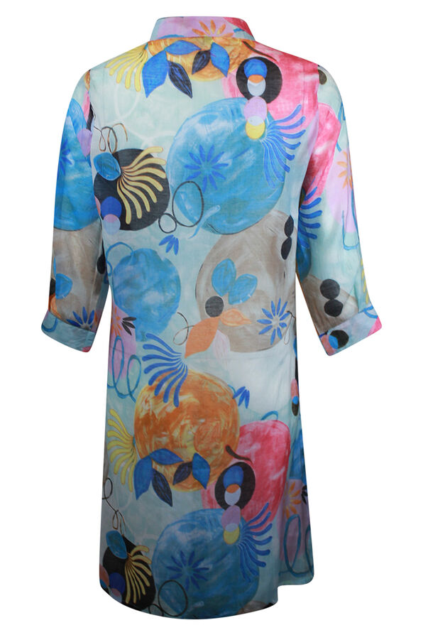 Long Button Front Blouse with 3/4 Sleeve, Blue, original image number 1