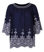 Embroidered Peasant Blouse 3/4 Sleeves, , original image number 1