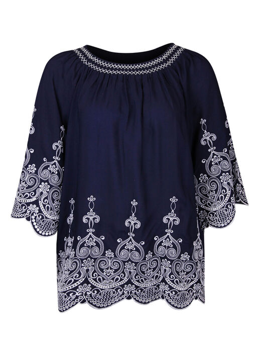 Embroidered Peasant Blouse 3/4 Sleeves, , original