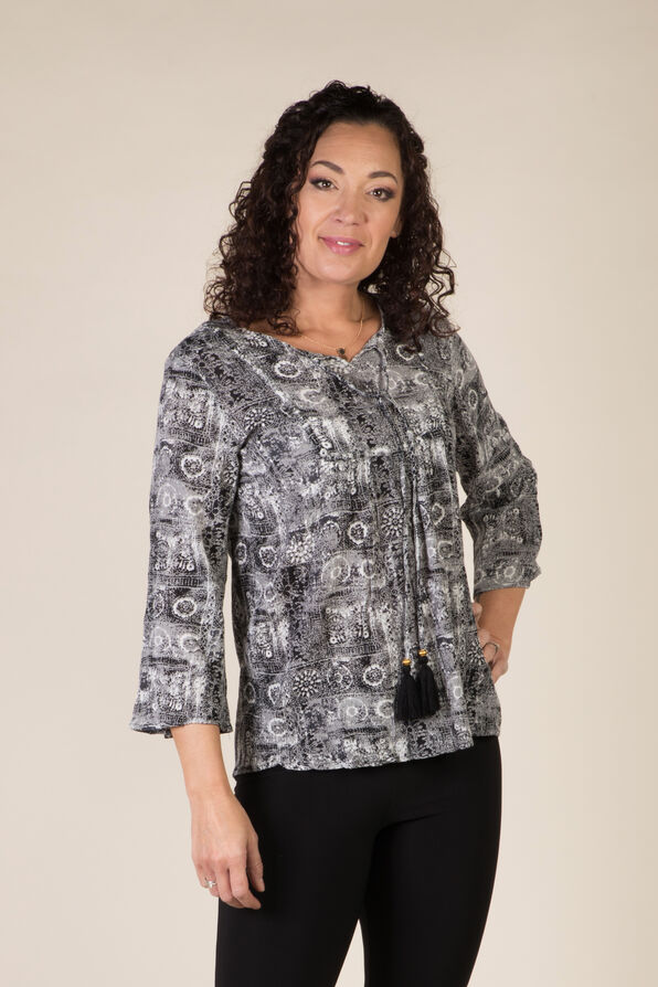 Ophelia Peasant Blouse, Black, original image number 0