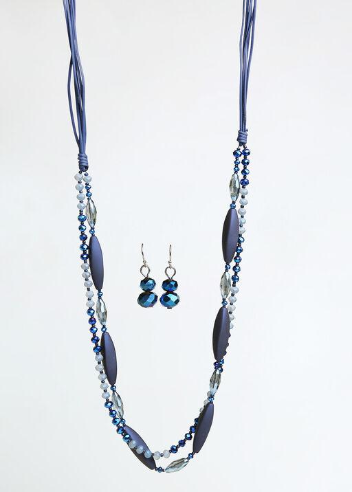 Crystal Lane Long Necklace Set , Blue, original