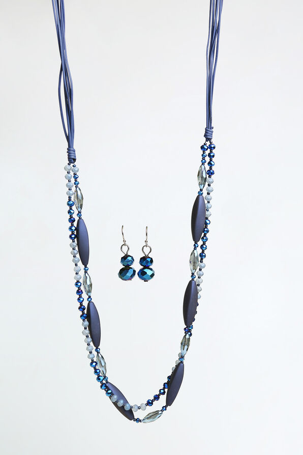 Crystal Lane Long Necklace Set , Blue, original image number 0