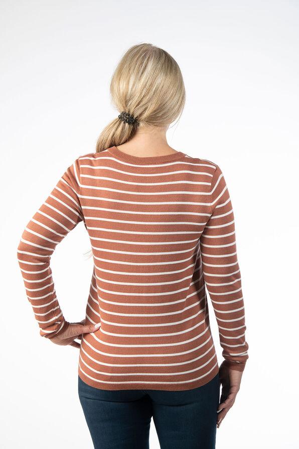 Striped Crewneck Sweater, Rust, original image number 2