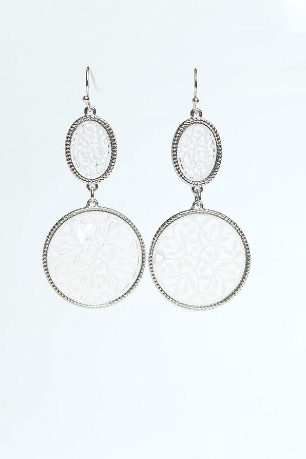 Double Drop Earrings, Silver, original image number 0