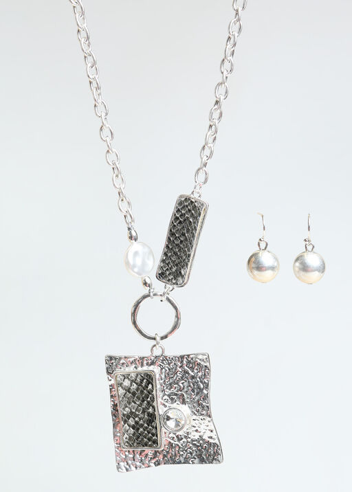 Hammered Statement Necklace Set , Silver, original