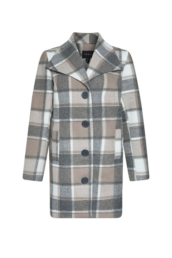 Plaid Pea Coat, , original image number 0