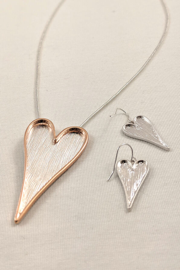 Heart necklace and Earrings, Gold, original image number 0
