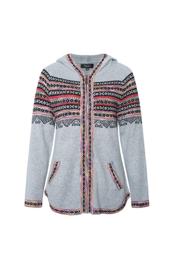 Zippered Fair Isle Cardigan with Hood, Grey, original image number 0