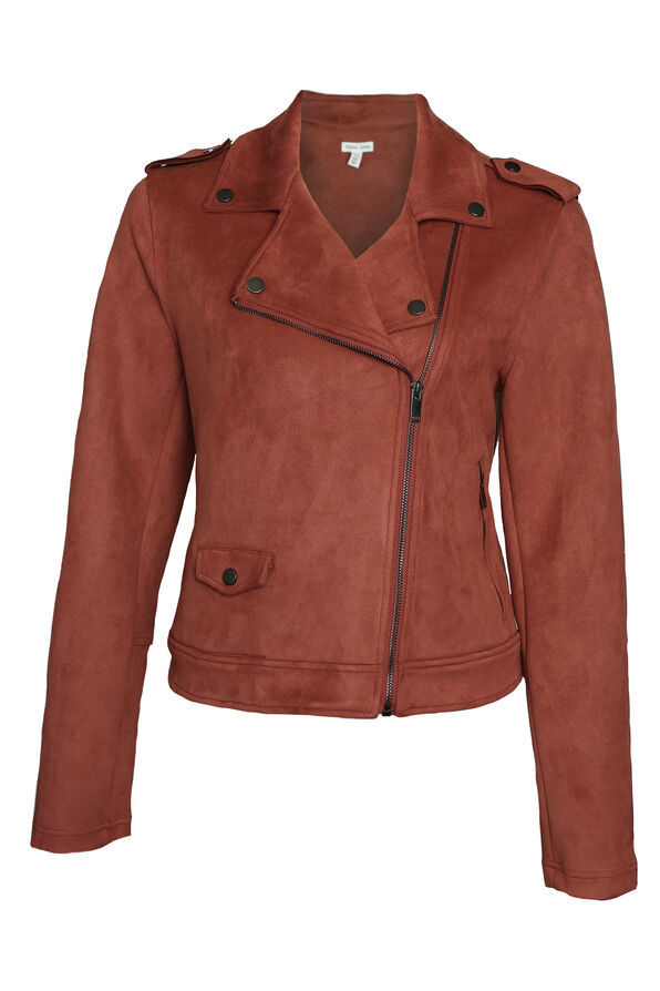 Faux Suede Biker Jacket, Rust, original image number 0