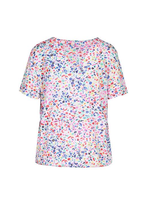 Ditzy Floral Print T-Shirt with Drawstring Waist, Multi, original