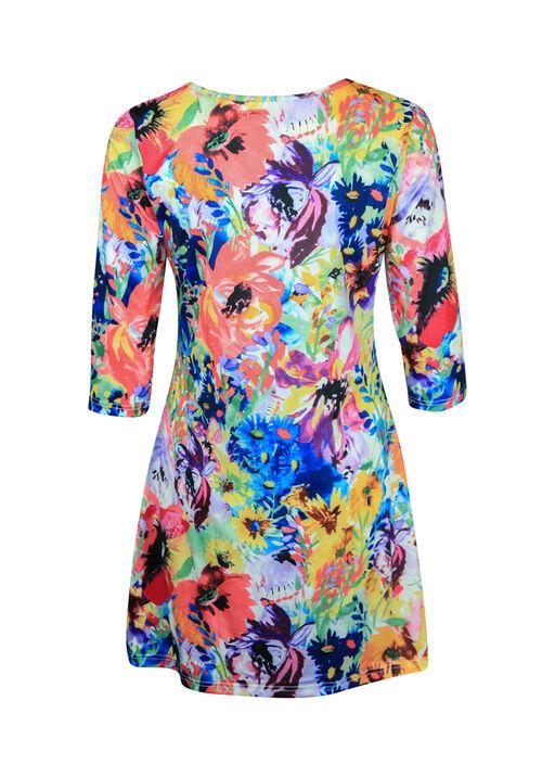 Floral Print Tunic Keyhole Neckline 3/4 Sleeves, Multi, original