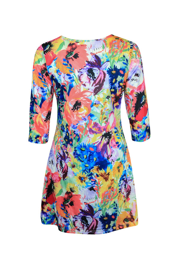 Floral Print Tunic Keyhole Neckline 3/4 Sleeves, Multi, original image number 1