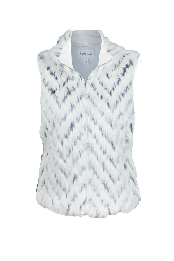 Faux Fur Vest, Cream, original image number 0