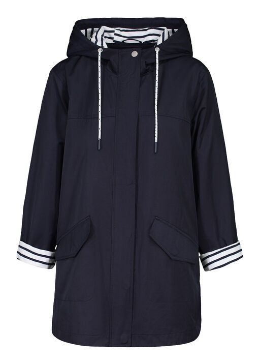Hooded Rain Jacket with Striped Lining, Ink, original