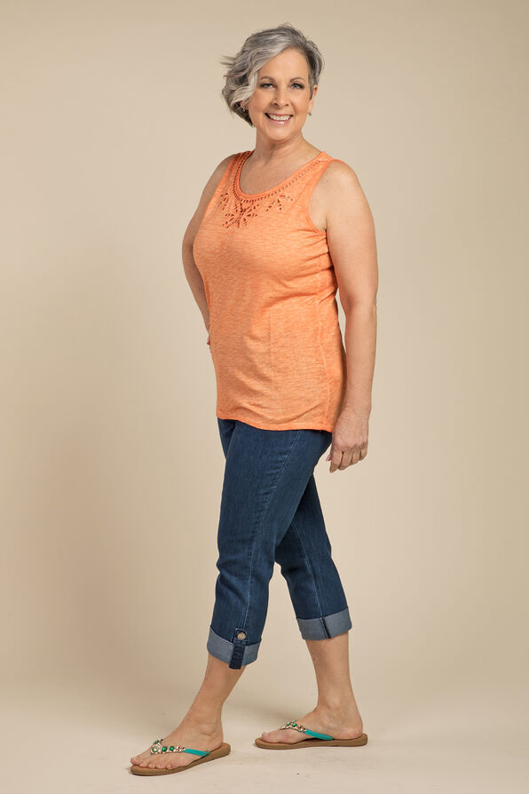 Embroidered Style Sleeveless, Orange, original image number 0