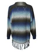 Long Sweater with Fringe, Blue, original image number 1