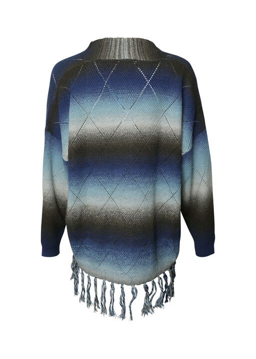 Long Sweater with Fringe, Blue, original