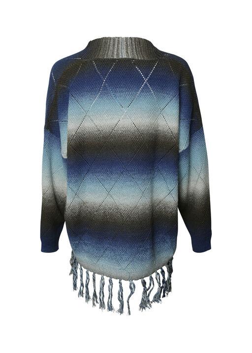 Long Sweater with Fringe, Blue, original