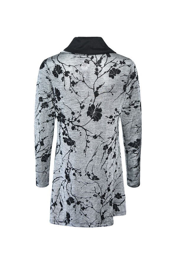 Floral Printed Cross Over Long Top , Grey, original image number 1