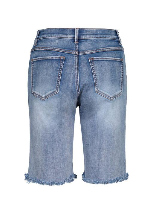 Audrey Denim Bermuda Short with Frayed Hem, Blue, original